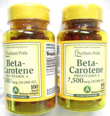 2 Lot Pack Beta Carotene Vitamin A 25000 IU 200 Total Pills Softgels -