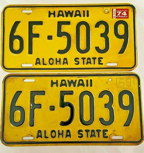 Pair of Vintage HAWAII 1969 Aloha State Yellow License Plates w/ 1974 Tags