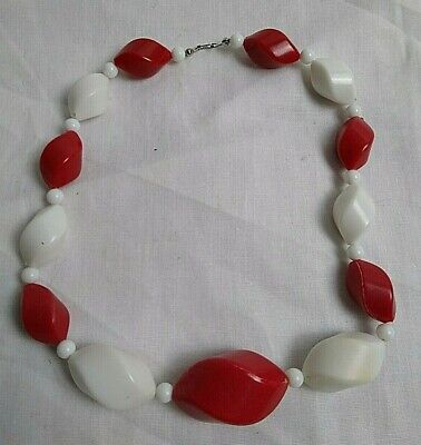 60s -70s Jewelry – Necklaces, Earrings, Rings, Bracelets Vintage 1950s/1960s RED & WHITE Hard PLASTIC Twist BEAD NECKLACE $8.28 AT vintagedancer.com