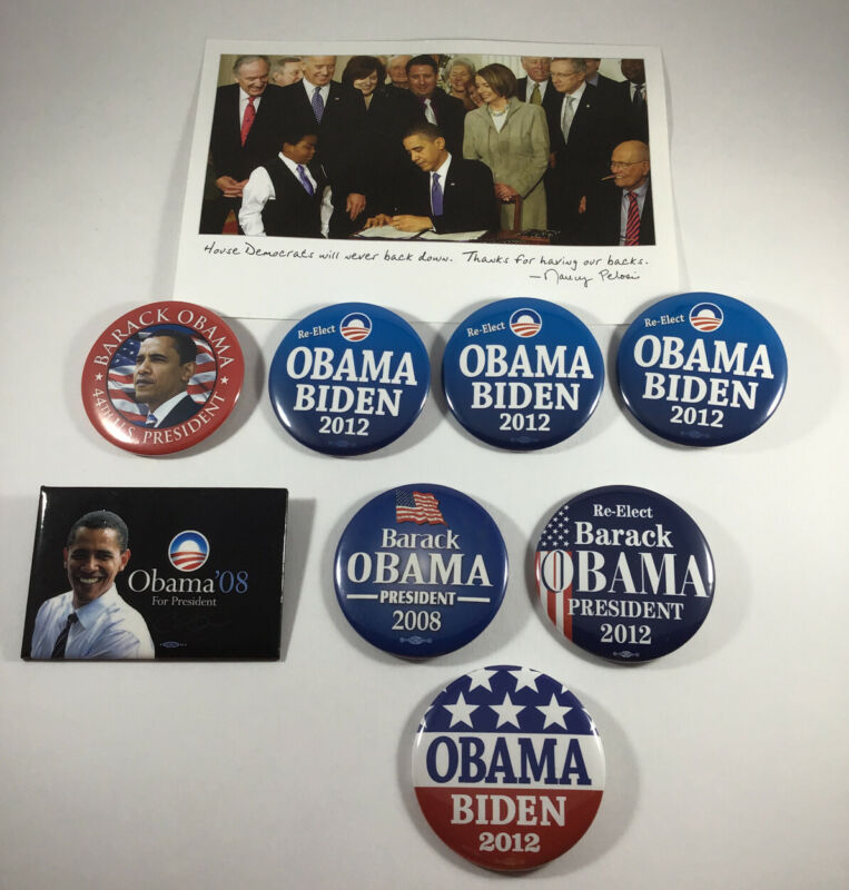 Barack Obama President 2008 2012 Pinback Button Lot 8 Political Campaign Biden