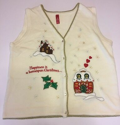 Gingerbread Knitting Ugly Tacky Christmas Sweater Vest White XL 16/18 (Tacky Sweater)