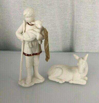 Hallmark Joanne Eschrich Shepherd and Donkey Set White Nativity Porcelain