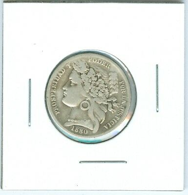 1880-B Peru Siver 1 Peseta KM# 200.1