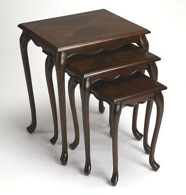 TABLES - NEWBURGH NESTING TABLES - SET OF THREE - CHERRY FINISH - FREE SHIPPING* Cherry Finish Nesting Tables