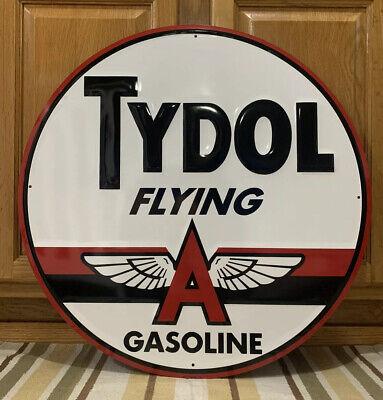 Tydol Flying A Gasoline Metal Sign Garage Vintage Style Wall Decor Bar Motor Oil