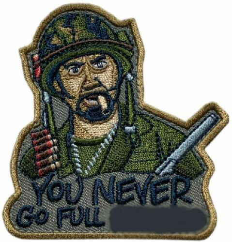 """You Never Go Full Tropic Thunder Movie Tactical Patch [""""Velcro Brand"""" Fastener]"""
