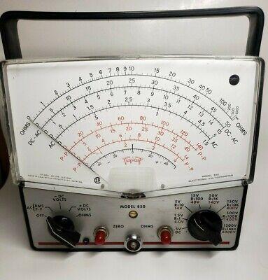 Vintage Triplett 850 Tube Analog Vtvm Volt Ohm Meter.