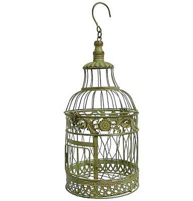 style ancienne cage a oiseau fer a suspendre avec crochet ronde verte 39cm