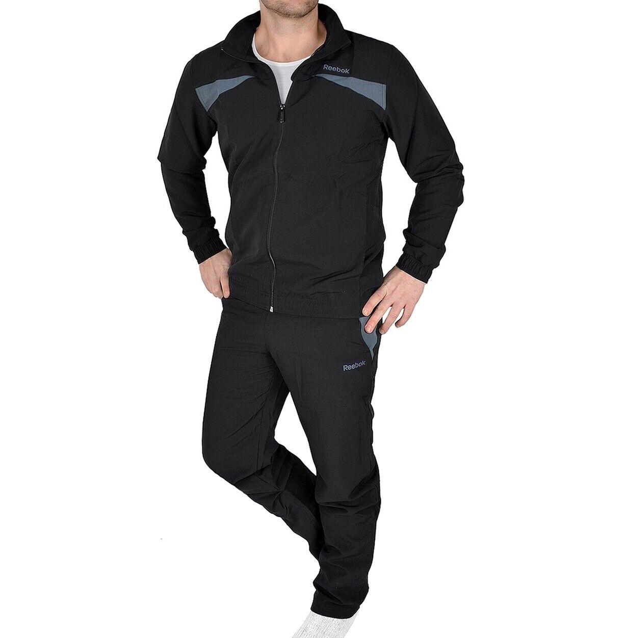 Reebok Herren Trainingsanzug Jogginganzug Fitness Sport Anzug Jacke+Hose schwarz