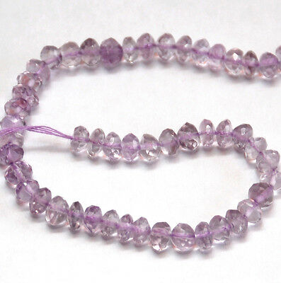 HALF STRAND NATURAL PINK AMETHYST FACETED RONDELLE BEADS, 5 MM, GEMSTONE