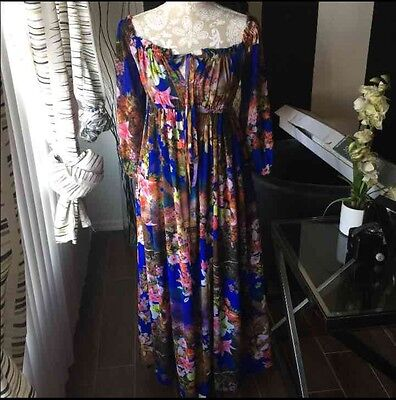 Stylewe Womens Off The Shoulder Blue Floral Maxi Dress Sz S