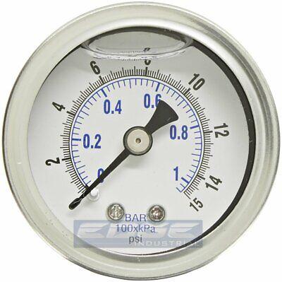 Liquid Filled Pressure Gauge 0-15 Psi 1.5 Face 18 Npt Back Mount