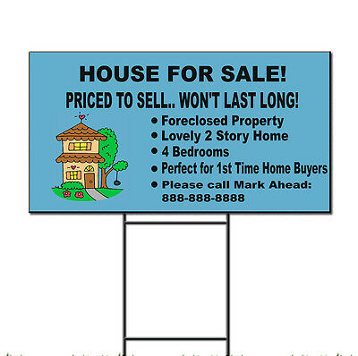 House For Sale Priced To Sell Custom Message Plastic Yard Sign  Free Stakes