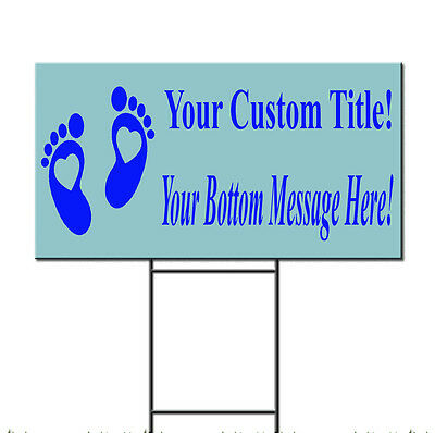 Baby Shower Custom Title Message Style 20 Plastic Yard Sign /FREE Stakes - Baby Shower Yard Sign