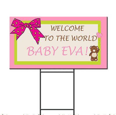 Baby Shower Birth Ribbon Pink Girl Bear Custom Plastic Yard Sign /FREE Stakes - Baby Shower Yard Sign