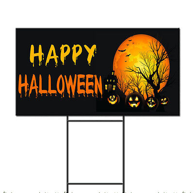 Happy Halloween Pumpkins Scary Corrugated Plastic Yard Sign /FREE Stakes - Happy Halloween Yard Signs
