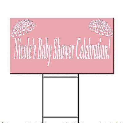 Custom Baby Name Shower Celebration Corrugated Plastic Yard Sign /FREE Stakes - Baby Shower Yard Sign
