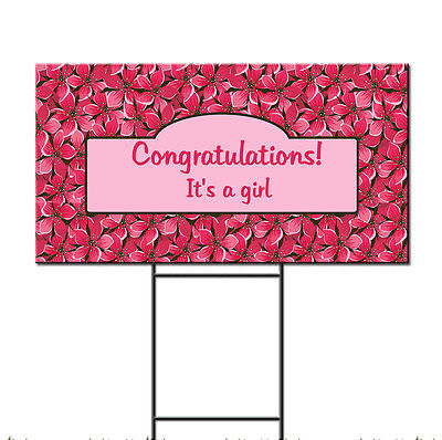 Welcome Baby Yard Signs (Baby Shower Birth Welcome To World Girl Custom Plastic Yard Sign /FREE)