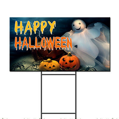 Happy Halloween Scary Pumpkin Ghost Corrugated Plastic Yard Sign /FREE Stakes - Happy Halloween Yard Signs
