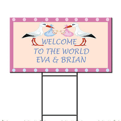 Baby Shower Birth Twins Welcome Stork Custom Plastic Yard Sign /FREE Stakes - Baby Shower Yard Sign