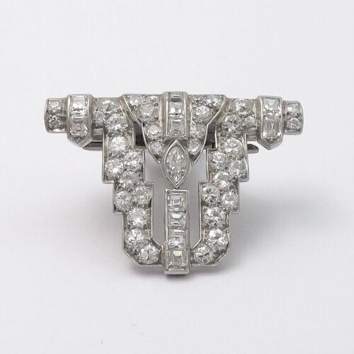 Art Deco Platinum Diamond Fur Dress Clip Enhancer Slide Pendant Appraisal