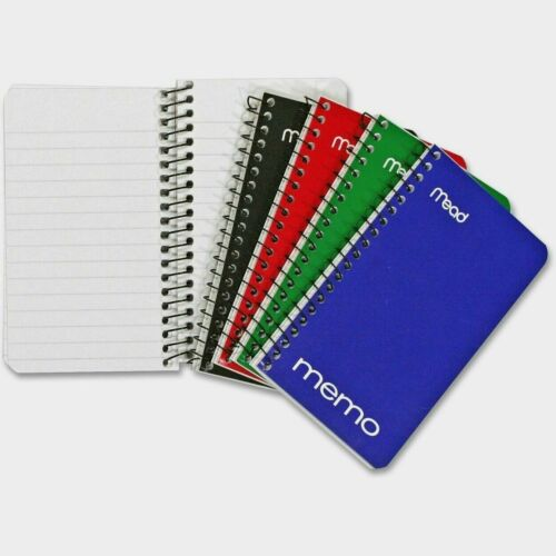 """Mead MEMO BOOK 3"""" x 5"""" College Ruled Paper Pad ASSORTED Spiral Binding 1 Notepad"""