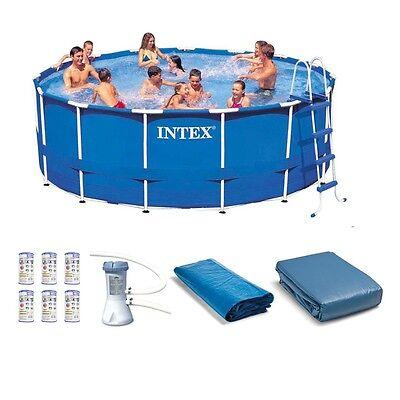 "Intex 15' x 48"" Metal Frame Swimming Pool Set w/ Pump and Filter Pump Cartridges"