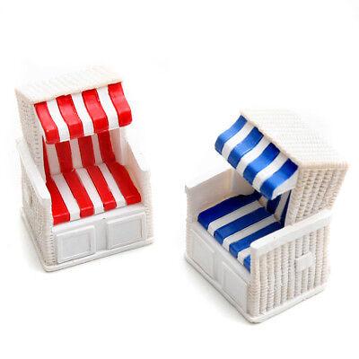 2er Set Strandkorb , blau / weiß und rot / weiß