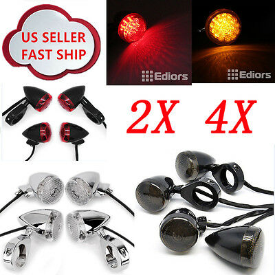 Bullet Front Rear Motorcycle LED Turn Signal Fog Running Light 41mm Fork Clamp