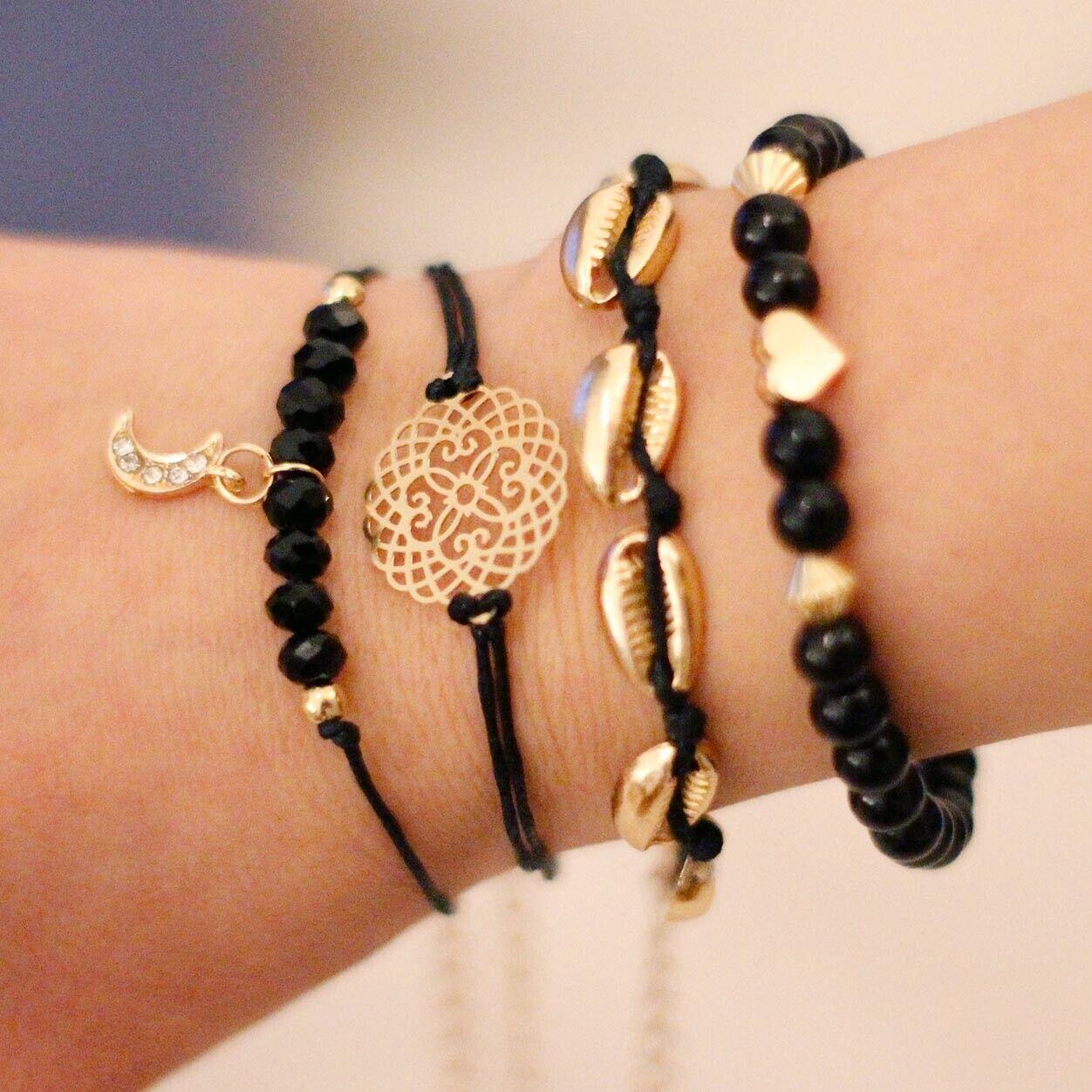 Armband Set Armreif Boho Shell Mandala Mond Herz Muscheln 4 Teile Schwarz Gold