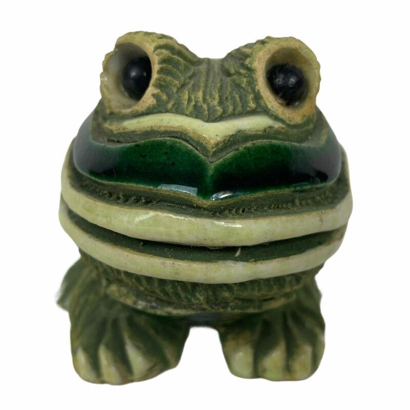 htf Early Aristania Rinconada FROG #43 w/ Glass Eyes Green Heart Stoneware 1971