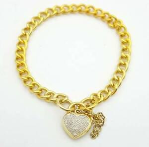 Ladies Bracelet 9ct (375) Yellow Gold Curb Chain & Diamond Heart