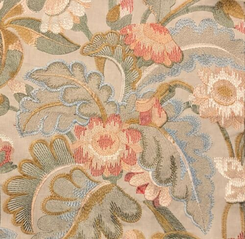 COLEFAX AND FOWLER Tapestry Flowers  Coral Floral Embroidery Remnant New
