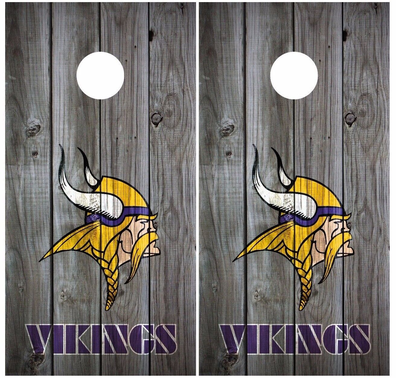 Minnesota Vikings Vintage Wood Cornhole Board Decal Wrap