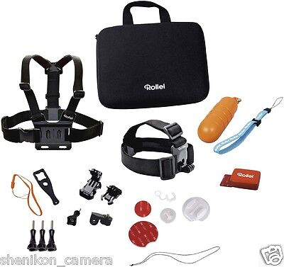 New Rollei GoPro Actioncam Strap Mount Stick Set Water Sports Action Camera Cam