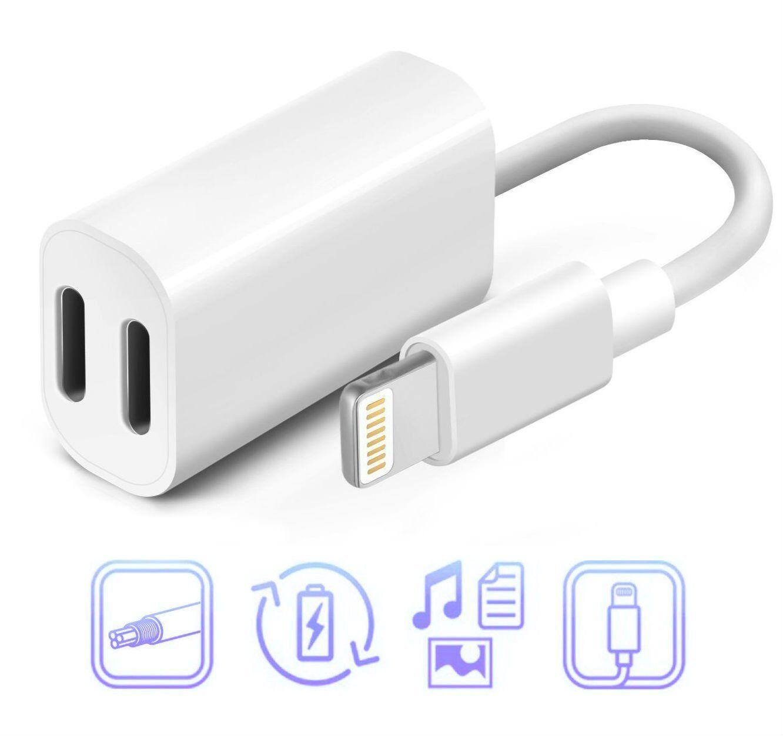 Lightning Dual Splitter Adapter Double Headphone Audio Charg