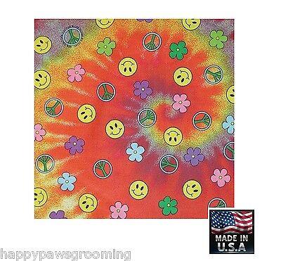 SMILE PEACE TIE DYE Retro HAPPY FACE BANDANA Bandanna Scarf Head Wrap*USA MADE for sale  Shipping to India