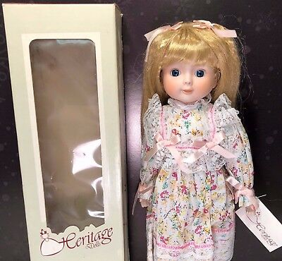 """Authentic Heritage Collector's Doll Blonde Girl New In Box Porcelain Bisque 16"""""""
