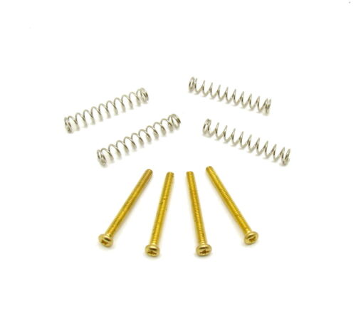 Humbucker Screws and Springs for Double Coil Pickup - Gold - Set of 4