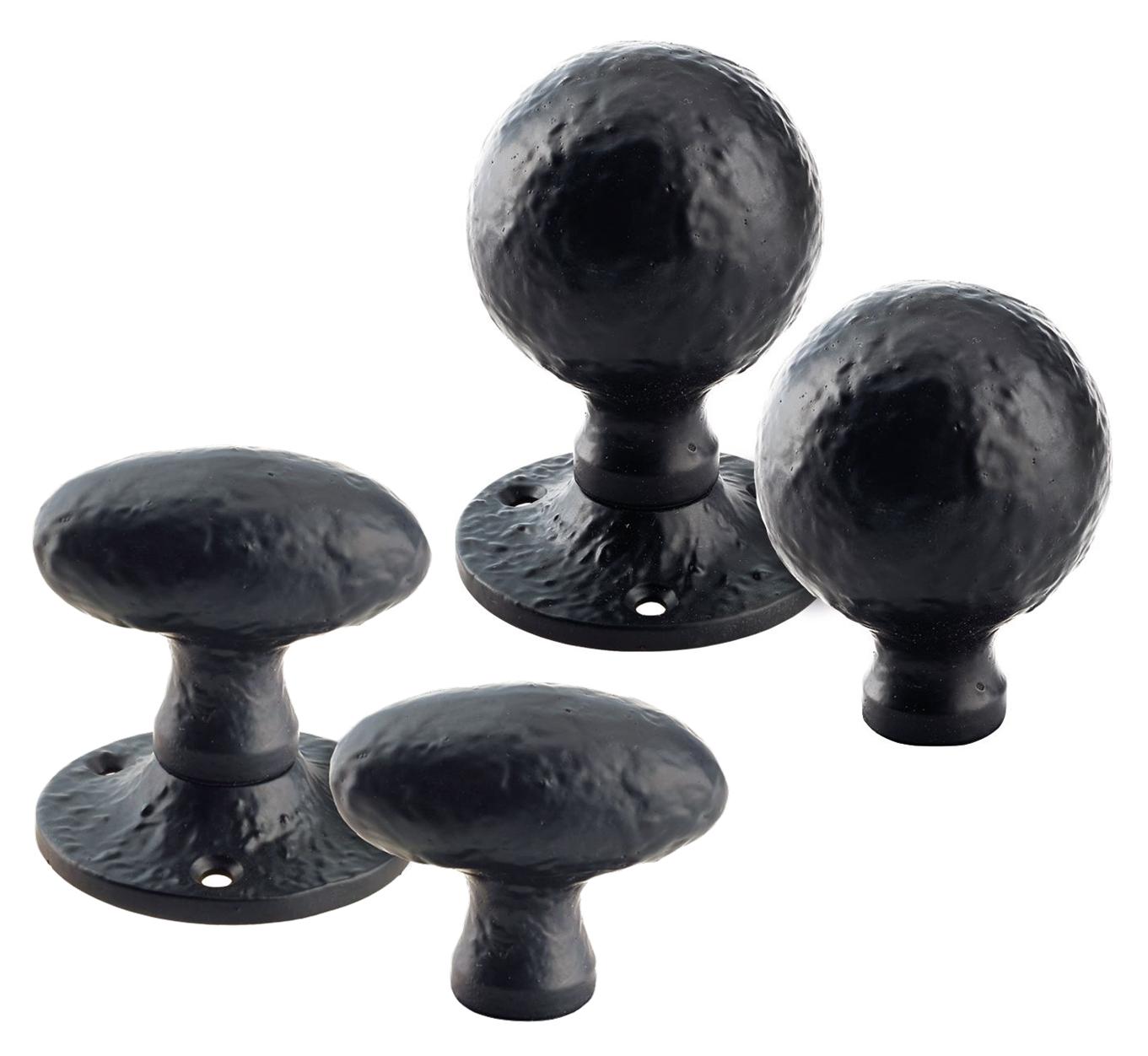 Black Antique Cast Wrought Iron Octagon Rim Mortice Knob Door Knobs Handles Set