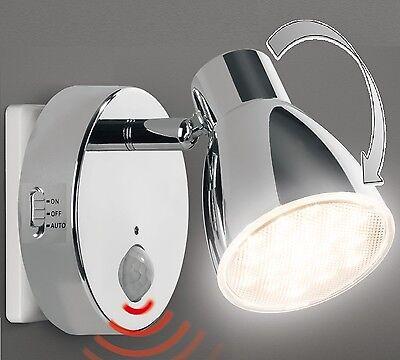 LED Nachtlicht Sicherheitslicht Chrom mit Bewegungsmelder für Steckdose 2635-18
