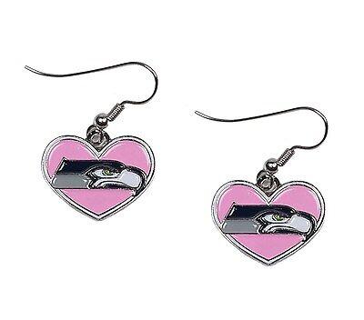 NFL Seattle Seahawks Pink Heart with Seahawks Logo Earrings](Pink Seahawks)