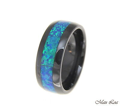 Black Ceramic 8mm Wedding Band Ring Blue Opal Inlay Comfort Fit Size 6-14 Blue Opal Inlay Ring