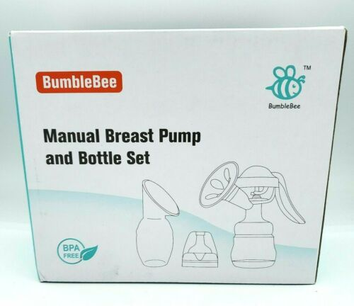 BumbleBee Manual Breast Pump Green Heart Set with Bottle - BPA Free - New