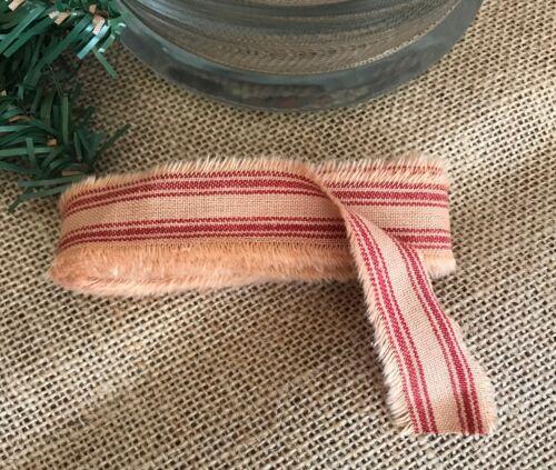 4 Yard Primitive Fabric Strip HOMESPUN RED TICKING STRIPE Christmas Farmhouse
