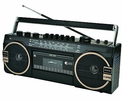 SuperSonic Portable 3 Band Radio Cassette Recorder Boombox with Bluetooth