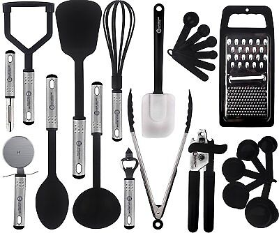 23 Piece Cooking Utensil Set Stainless Steel & Nylon Kitchen Gadgets