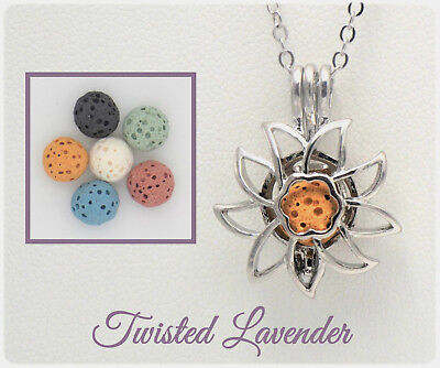 Sunflower Oil China - Sunflower Essential Oil Aromatherapy Diffuser Necklace with 6 lava stones