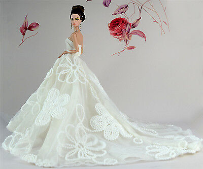 White Fashion Royalty Party Princess Dress Clothes/Gown For Barbie Doll S243