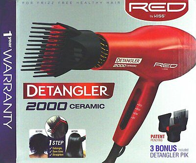 RED BY KISS 2000 CERAMIC DETANGLER HAIR BLOW DRYER DOUBLE LA